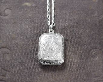 Rectangular Locket Necklace, Sterling Silver Bevelled Edge Book Shape Photo Pendant - Pretty Paisley