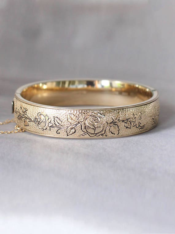 Vintage Gold Filled Bangle, Floral Engraved Victorian Revival 1920's 1930's Cuff Bracelet - Poppy Flower