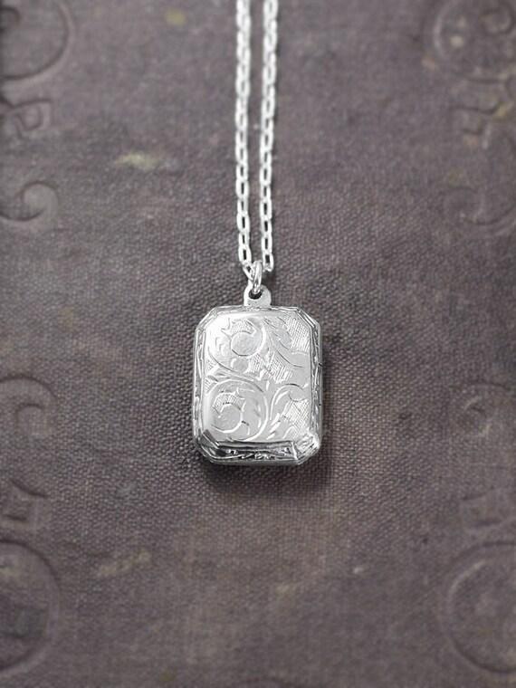 Rectangular Locket Necklace, Sterling Silver Bevelled Edge Book Shape Photo Pendant - Pretty Paisley