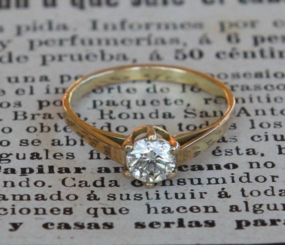 Genuine Diamond Ring, Wife Valentines Gift, Clothing Gift, Modern Engagement Ring, Alternative Engagement Ring, 18K Gold, Certified Diamond
