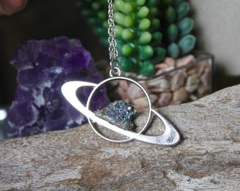 Crystal Saturn Necklace, Celestial Jewelry, Galaxy, Outer Space Necklace, Wiccan Jewelry, Bohemian Pendant, Festival Fashion, Planet Jewelry