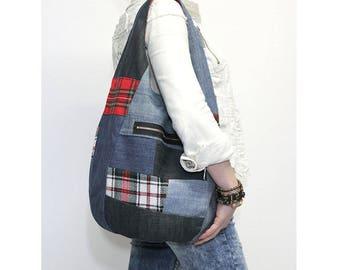 Hobo bag denim slouchy purse sling bag grab bag recycled up-cycled denim tartan punk emo