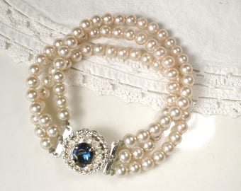 Vintage Ivory Pearl Sapphire Rhinestone Bridal Bracelet, Art Deco Three Strand Glass Ivory Pearl Ornate Pave Clasp Something Blue Old 1950s