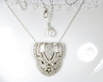 Great Gatsby Crystal Dress Clip Pendant Necklace, Vintage 1930s Art Deco Wedding Pave Rhinestone Bridal Necklace Flapper Duette Shoe Clip