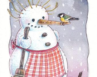Original Watercolor Illustration - Snowlady and birds