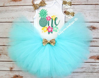 Aqua Luau First Birthday Outfit Girl; Birthday Tutu Outfit; Gerber ® Onesies ® brand; Baby Girl Hawaiian Outfit; Hibiscus Flowers One