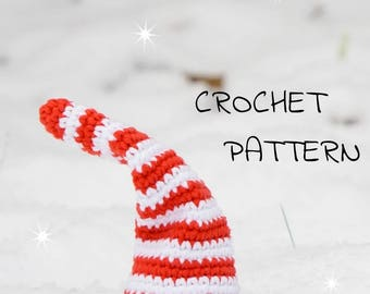 Crochet pattern Shy Christmas Gnome toy - amigurumi christmas gnome - crochet tutorial US English pdf