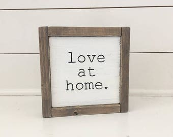 Rustic Hand Painted Wood Sign - Love At Home