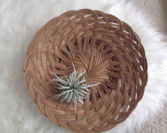Boho Basket, Woven Rattan Wall Basket, Wicker Tray, Bohemian Modern, Boho Wall Art, Gift Woman