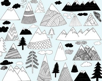 Hand Drawn Mountain Clip Art,  Black and White Line Art, Outdoor Adventure, Pine Tree & Cloud Illustration, Photoshop Overlays, Travel