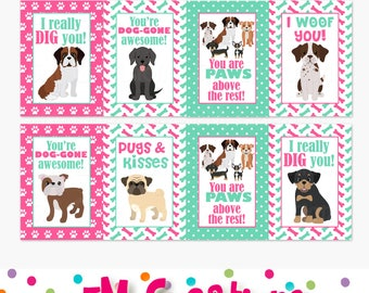 Printable Puppy Valentines Day Card   School Valentines Day Card   Dog  Valentines   Pink Mint