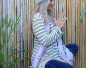 Teal YOGA Hat Lotus BEANIE hat Frizzy Crochet cap Handpainted Flower Hat Womens fashion Blue beanie Skullcap Casual wear meditation GPyoga