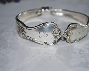 """1940's Engraved """"R"""" Spoon Fork Silverware Bracelet"""