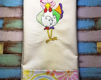 Funny Chicken Embroidered Towel, chicken gift, chicken lover, flour sack towel, tea towel, chicken decoration, chicken decor,Bashful The Hen