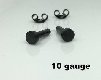 10 gauge post earrings for men, black men's stud earrings, 10G cartilage earring, gauged earrings, black post earrings, 420 5MB 10G