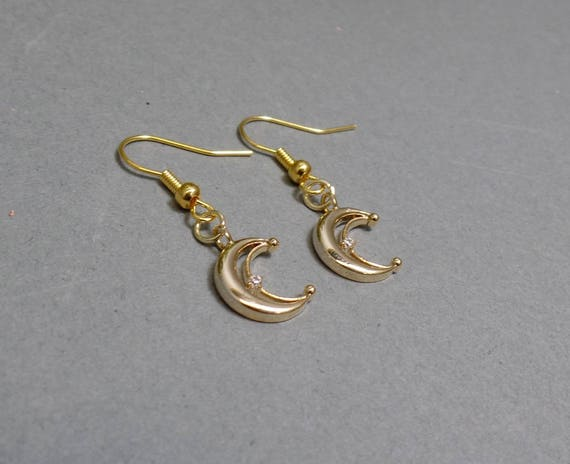 Small Dainty Gold Moon Earrings - Dainty Crescent Moon Earrings - Rhinestone Moon Earrings - Petite Moon Earrings