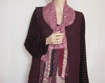 2X to 3X  Maroon Tunic with Scarf Plus Size