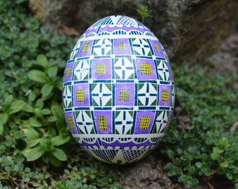 Pysanka egg in purple Ukrainian Easter egg by Katya Trischuk Toronto Canada