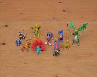 Mexican Folk Art Set Of 10 Unique Ethnic Hand Made Hand Painted Wooden Animals