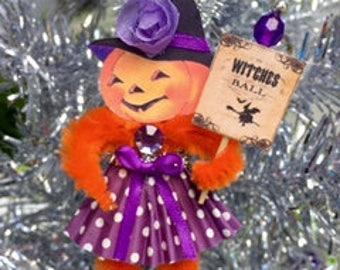 Retro Chenille Stem Jack O Lantern Witch, Halloween Decor, Feather Tree Ornament Halloween Pumpkin Party Favor