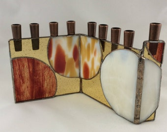 Shades of Sedona Golden Red and Amber and White Geometric Abstract Stained Glass Chanukah Menorah