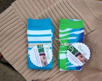 SALE - Leg Warmers for Boys and Girls - Two Pairs - Blue Sets - Animal Print and Baseball Stripes