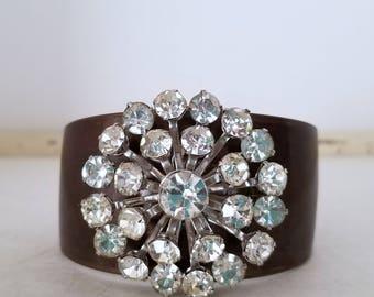 Cuff Jewelry-1950 Brooch-Original Design Cuff-Elegant Bronze Rhinestone Cuff-One of a Kind-Handmade Bracelet-Gift for Her-Rhinestone Brooch