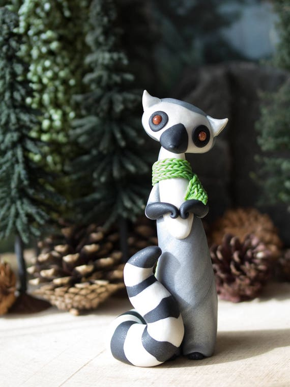Ring-tailed Lemur Figurine Wearing a Green Scarf by Bonjour Poupette