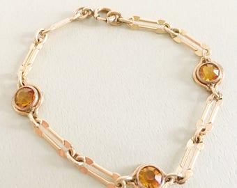 Art Deco Jewelry, Vintage Jewelry, Sturdy Brand Bracelet, Amber Rhinestone Minimalist Bracelet, Modern Bracelet, 20s 30s Art Deco Bracelet