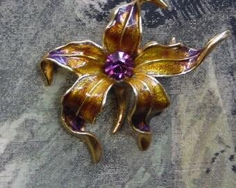 "Vintage Enamel Purple and Golden Enamel Orchid Brooch with Purple Rhinestone 3"" x 3"""