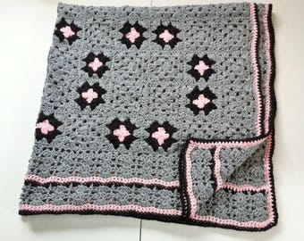 Gray Pink Crochet Afghan Granny Square Blanket Couch Throw Stars Infinity Circles, Knitted Afghan Gift For Women