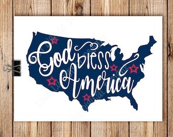 PATRIOTIC - God Bless America, Digital Cut Files