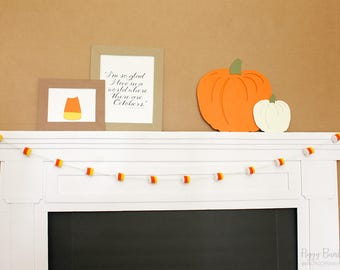 Candy Corn Felt Garland - White : Handcrafted Fall Mantle Decoration | Halloween Party Decoration | Fall Garland | READY to SHIP
