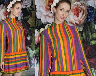Vintage 70s Rainbow Mini Pleated Skirt Boho Hippie Festival Dress - 1970s Dresses - 70s Clothing - WV0447