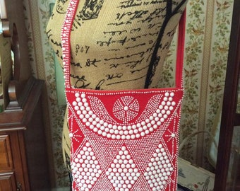 Vintage 1960s 1970s Purse Shoulder Bag Red Fabric With White Plastic Beads And Red Fringe Hippie Festival