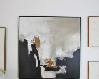 Hand Painted Original Painting, Abstract Art, Acrylic Painting on Canvas, Black and white