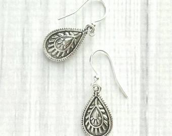 Silver Drop Earring - boho tribal antique finish teardrop dangle - Bohemian Gypsy ethnic style - black ornate detail simple large 3D