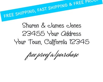 """Address Stamp Featuring a Fun Font.  Mounted with a Handle or Self-inking Return Address Stamp 2 1/2"""" x 1"""" (20268)"""