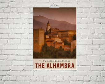 The Alhambra Spain Travel Poster 18x24 Size Vintage Style Europe Poster Famous Landmark Palace Granada Spain