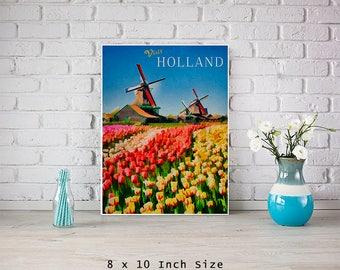 Holland Windmills 8x10 Art Print Tulip Flowers Colorful Art European Travel Poster Netherlands Print