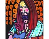 HUGE SALE- George Harrison Art Print Poster by Heather Galler Beatles Musician Portrait abstract modern Folk Art