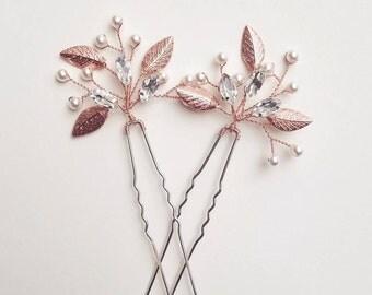 Rose Gold Hair Clip, Bridal Leaf Hair Piece, Rose Gold Head Piece, Rose Gold Hair Vine, Leaf Hair Pins, Copper Hair Comb, Wedding Clips
