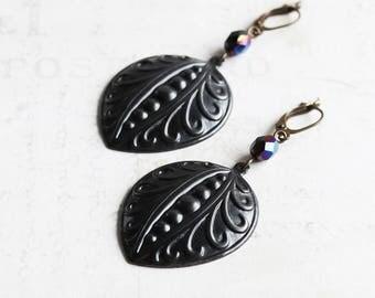 Large Black Embossed Petal Drop Earrings on Antiqued Brass Hooks