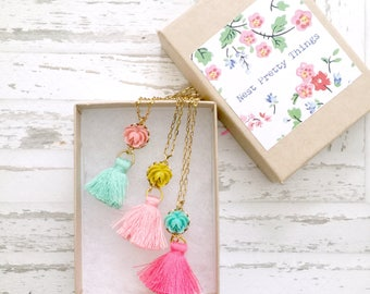 Girls Tassel Necklace, Jewelry for girls, gift for kids, kids jewelry, necklace for girls