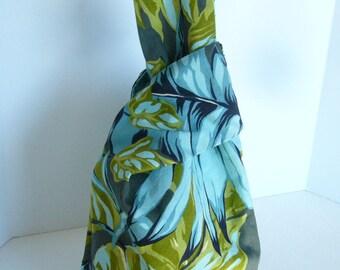 SUMMER SALE Zen knot bag - reversible Japanese knot bag - secure knitting crochet needlework project bag purse handbag wristlet tropics aqua