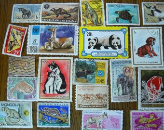 20 Used Vintage ANIMAL Postage Stamps for crafting collage altered art journals scrapbooks philately commemorative stamps 10f