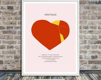 Kintsugi heart, Kintsukuroi, Japanese aesthetics, Broken Heart, Fixed Heart, Wall Art, Word Art, Printable Art, Instant Digital Download
