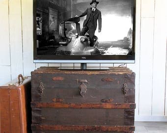 Large Antique Steamer Trunk with Wonderful Patina and Lots of Storage Capacity - Wood Slat Sides