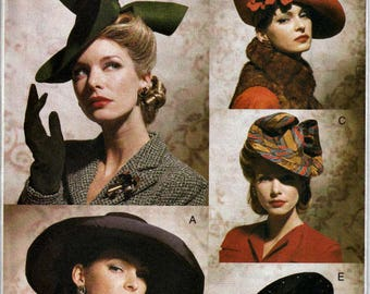 2001 Vintage Hats Pattern  VOGUE 7464  Vogue Accessories Line  1930's and 1940's Hat Styles Out of Print Pattern  UNCUT, Factory-Folded