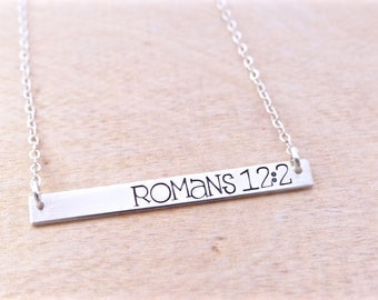 Romans 12:2 Scripture Bar Necklace, Christian Jewelry, Name Necklace, Quote Bar Necklace, Gold Bar, Silver Bar, Rose Gold Bar Necklace.
